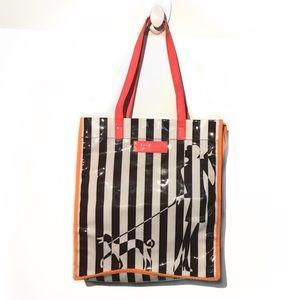 Henri Bendel striped dog shopper tote